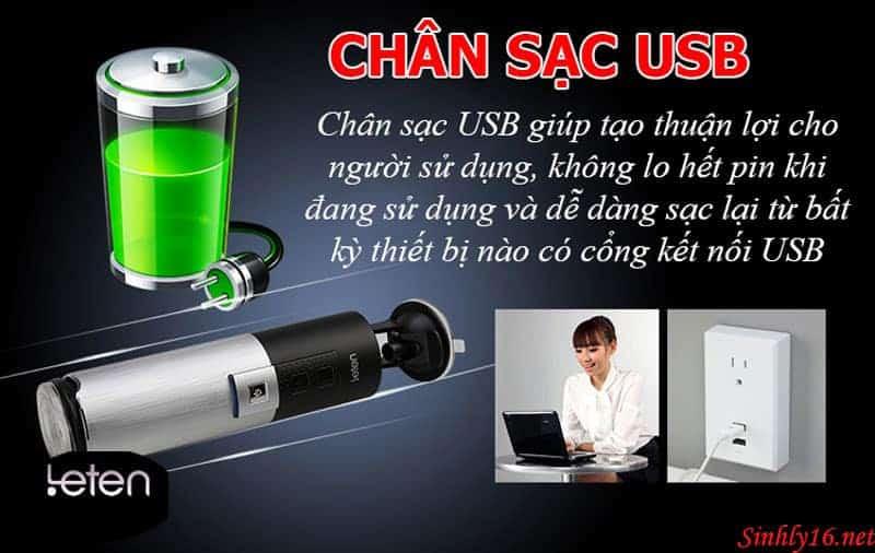 Chân sạc USB giúp tạo thuận lợi cho người sữ dụng